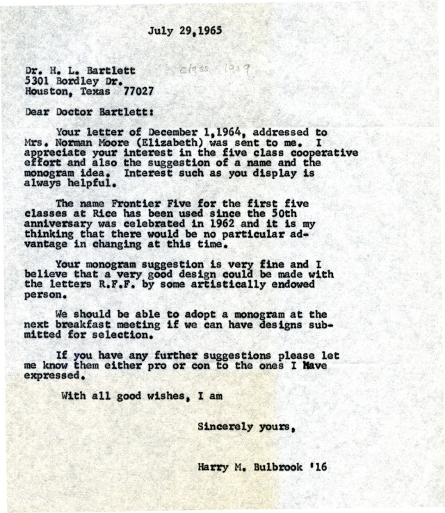 HarryBulbrookCorrespondenceRFFmonogram1965