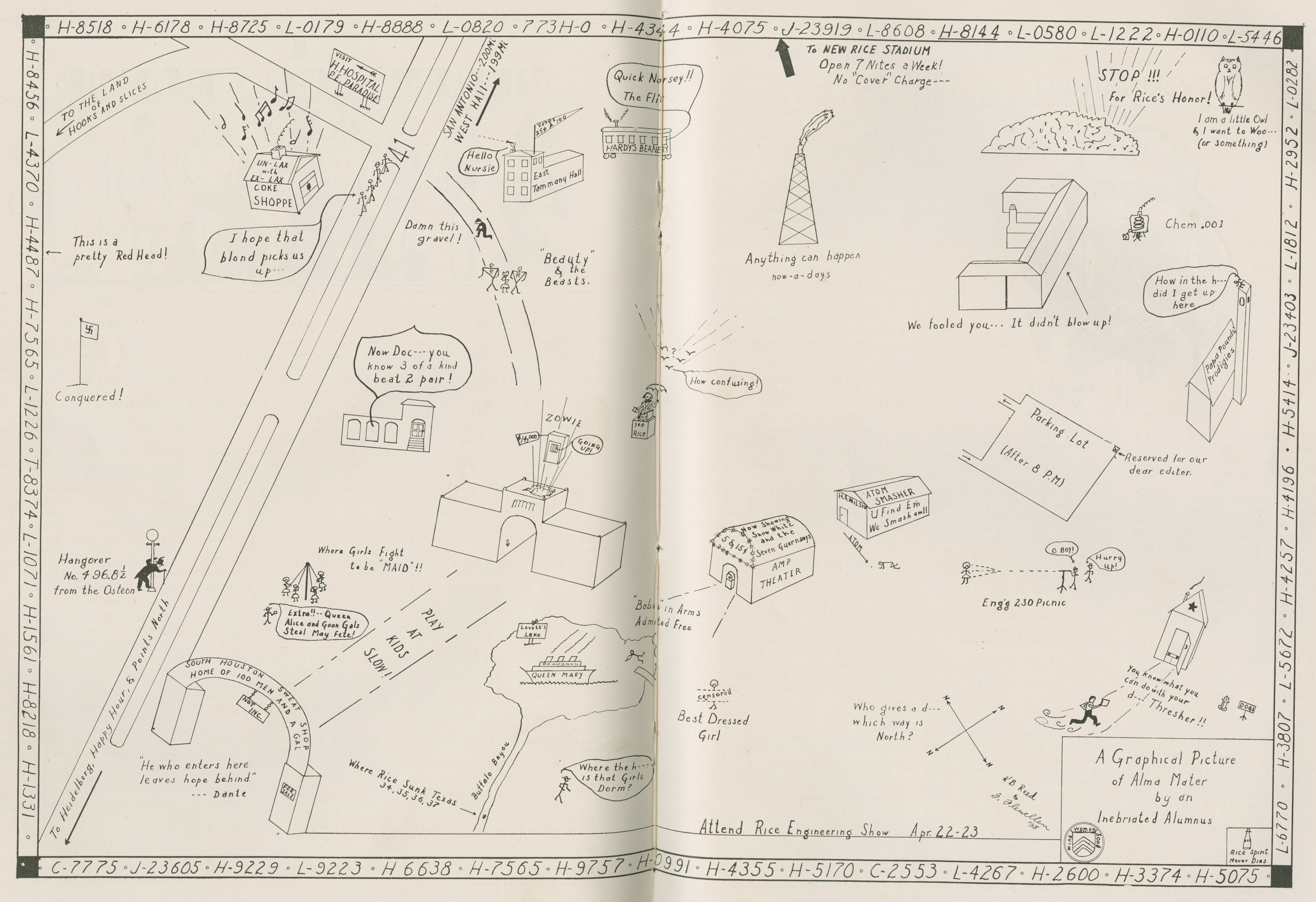 The 1937 Campus Map And The New Rice Stadium Rice History Corner