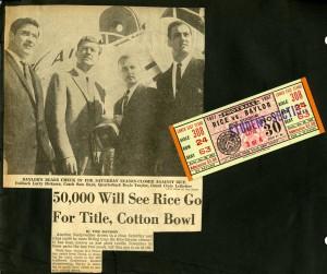 Football 1957 Baylor ticket