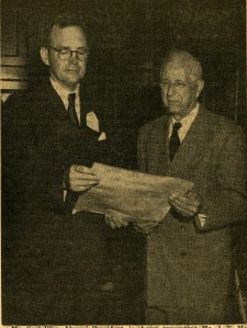 Alumni President Carl Illig presents scroll to McCants Homecoming 1953