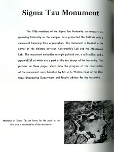 Sigma Tau monument 1956
