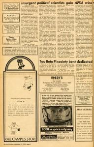 Tau Beta Pi bent Thresher Sept 1968 p8