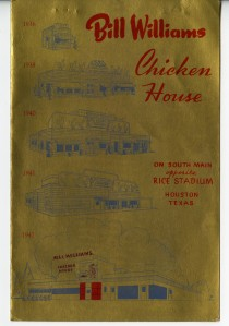 Bill Williams Menu 1940s 1