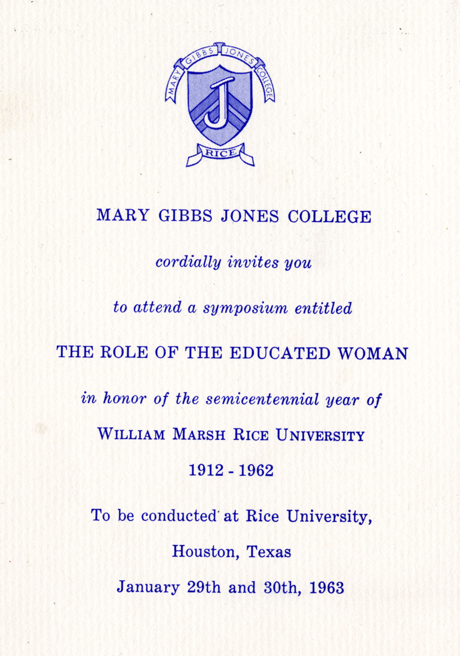 Jones College Symposium 1963 The Role of the Educated Woman Now