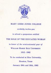Women's symposium invitation 1963