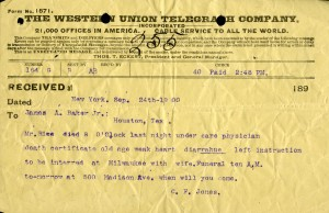 Rice Death telegram 1900