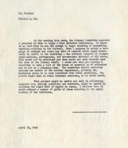 Archives memo 1949