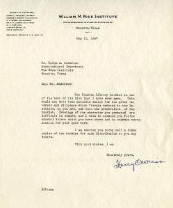 Ralph Anderson 1947 letter from Weiss