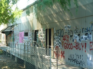 Shack with graffitti april 2014
