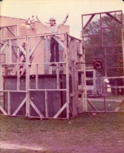 Shakespeare festival 1974 dunking booth Steve Jackson as Nixon