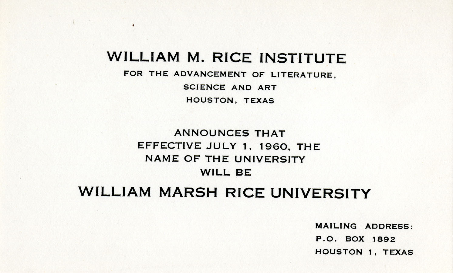 Name Change announcement  sc 1 st  Rice History Corner & Happy Birthday Rice University! | Rice History Corner Aboutintivar.Com