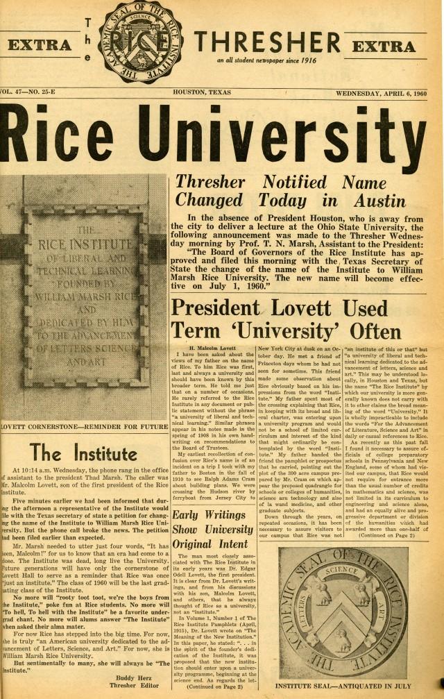 Rice University April 1960 1