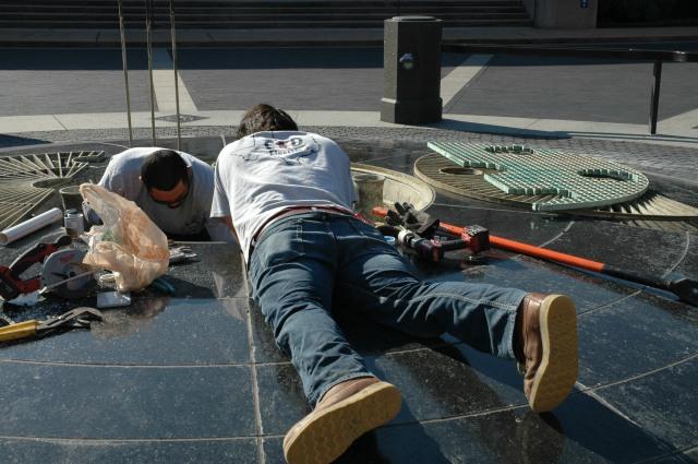 Baker inst. fountain repair 2