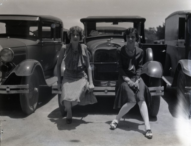Girls on cars 1930
