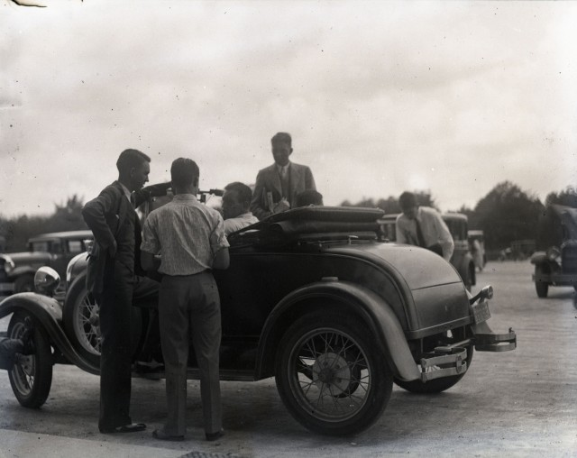 Glass car in front of Lovett 1929