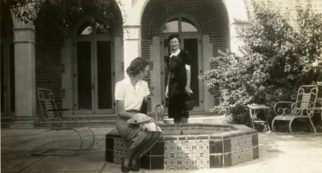 Ray Watkin and friend 1938 Cohen House fountain