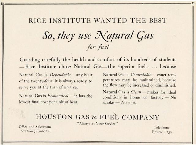Natural gas ad 1927 Campanile