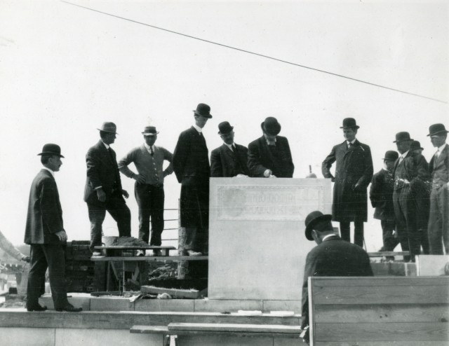 Watkin laying Admin cornerstone March 1911