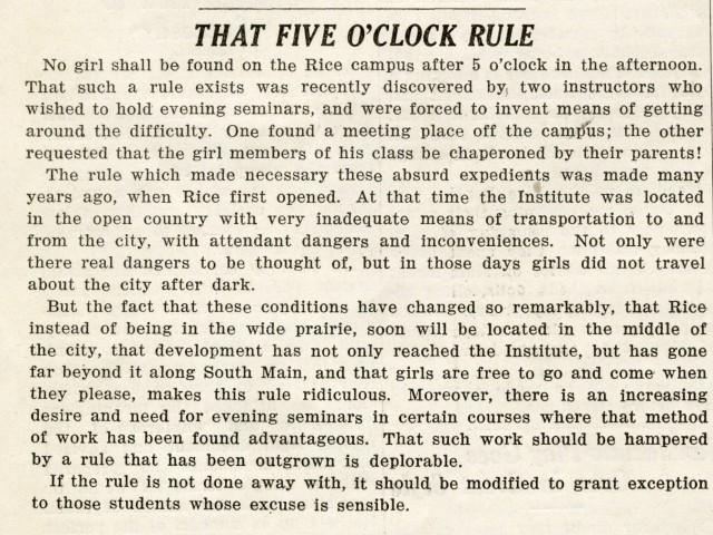 5 oclock rule january 1930