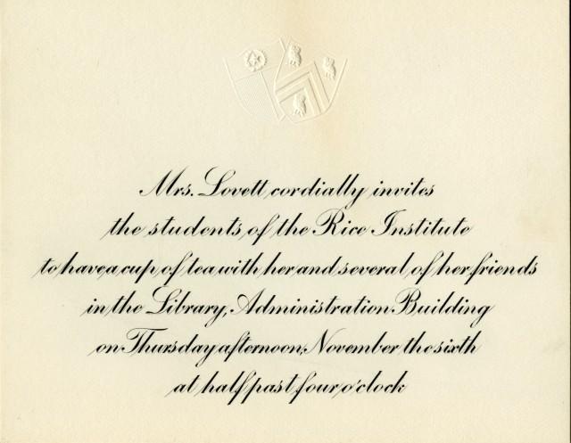 MRs Lovett tea invitation teens Edith Leeseman file