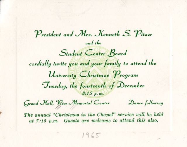 Christmas program invitation 1965