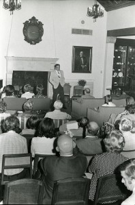 Hackerman speaking in Cohen House
