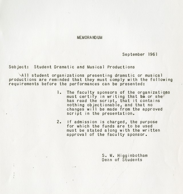 New 1961 Drama approval memo