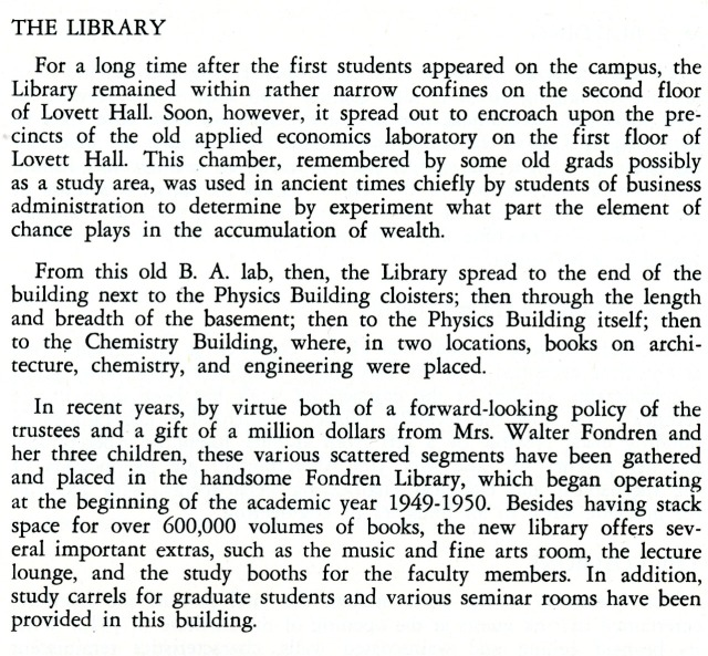 Library from early 1950s Student Handbook