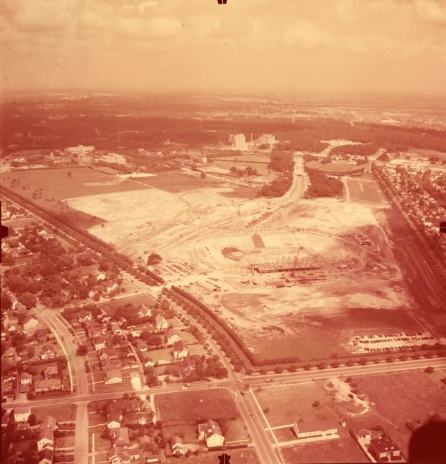 New aerial positive film 1950 stadium construction