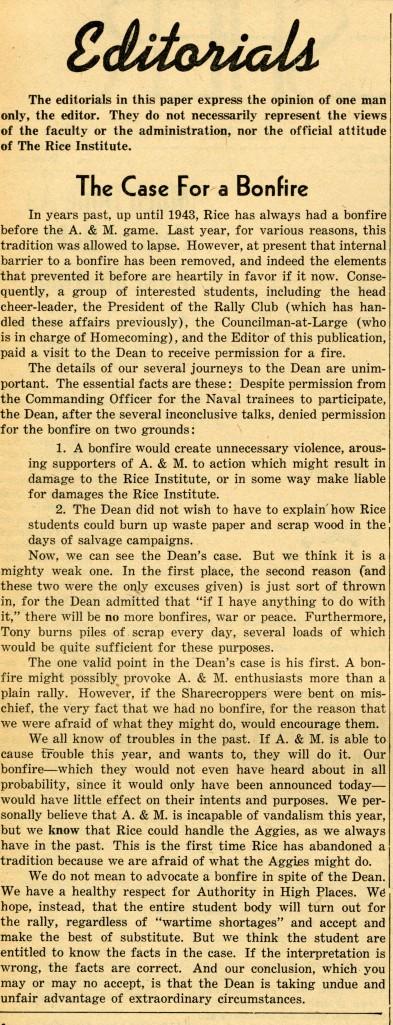 Bonfire editorial fall 1944