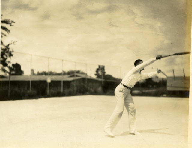 Glass tennis w shed c1929 from print