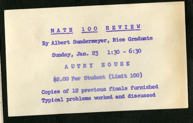 Math 100 review January 1955 Dearmond