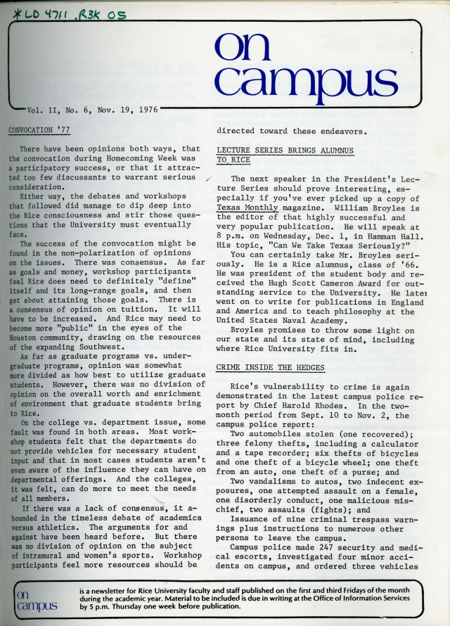 New On Campus November 1976