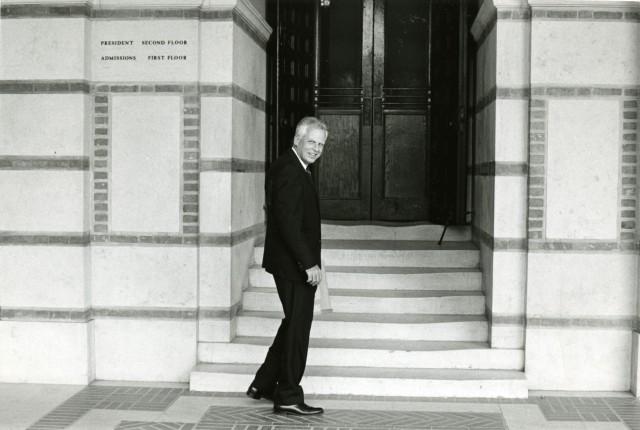 Pitzer with Lovett Hall signage 1968
