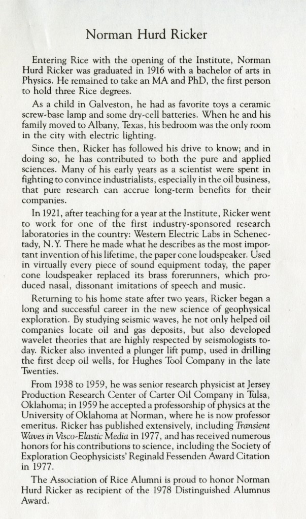 Norman Hurd Ricker 1978 bio