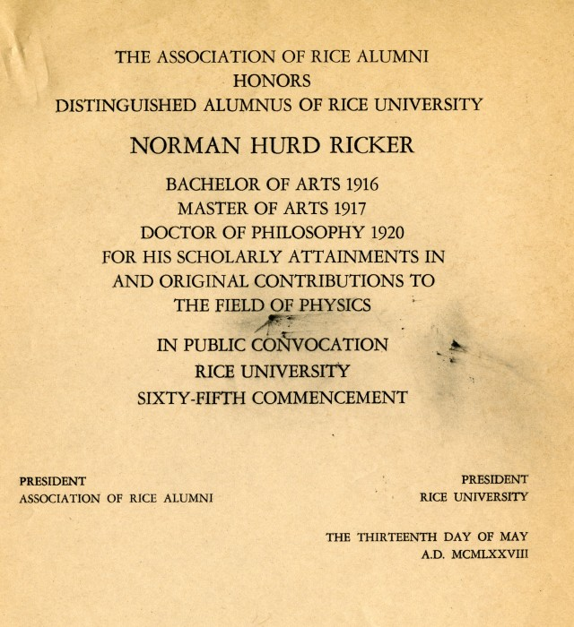 Norman Hurd Ricker 1978 Distinguished Alumnus