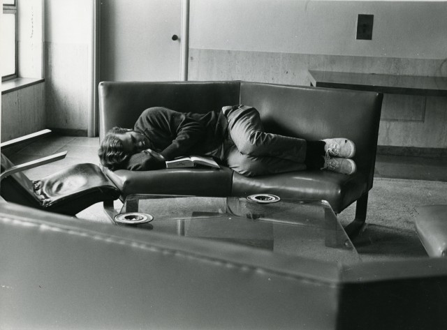 Student sleeping in library maybe 70s