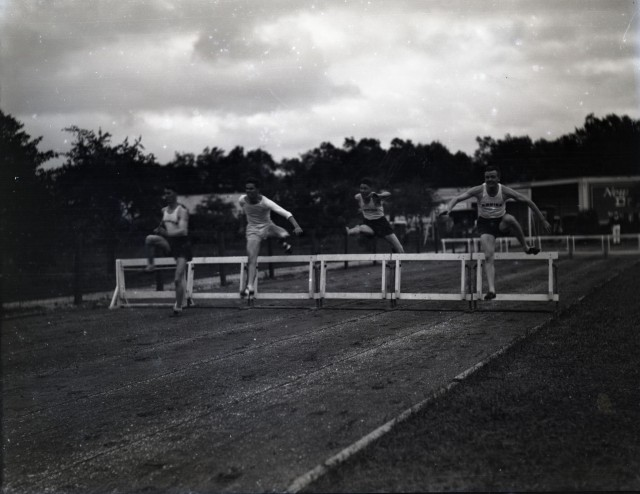 Track meet 1929 or 30 hurdlers