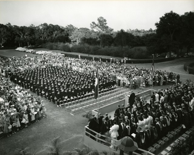 New commencement 1954 in parking lot