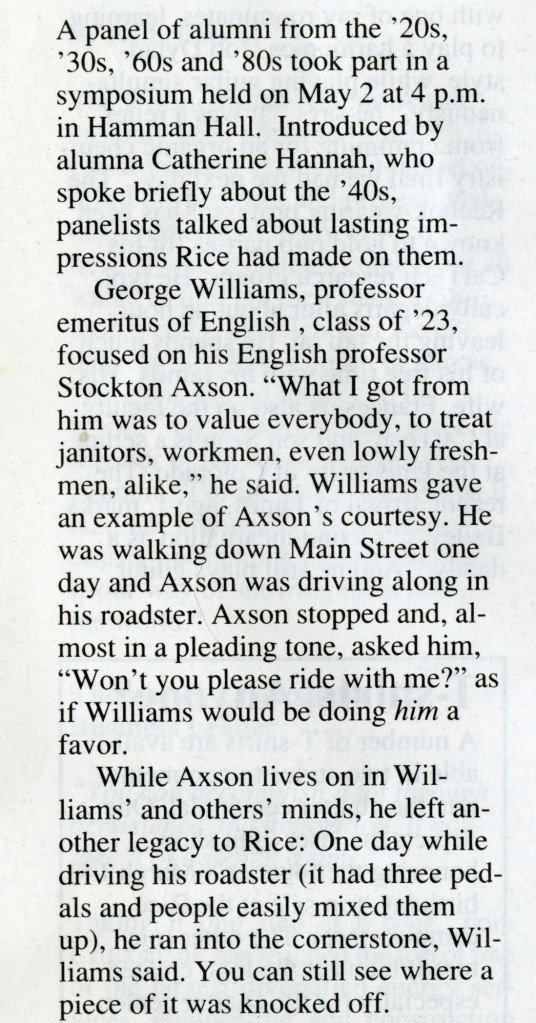 New Stockton Axson reckless driver Rice News 1991