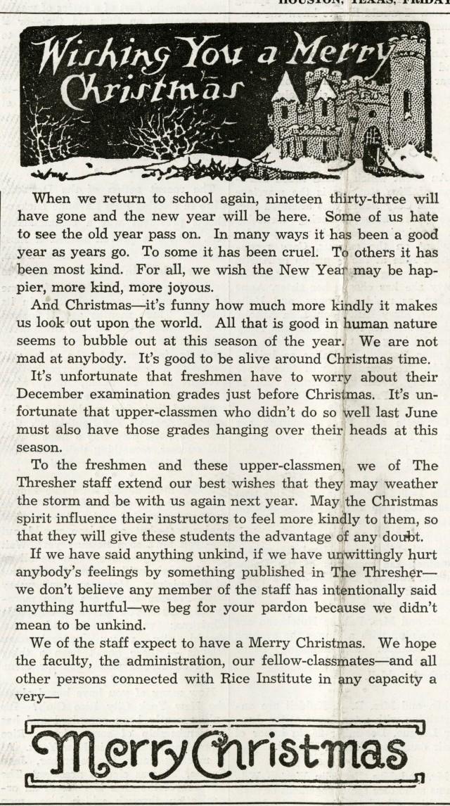 New Merry Christmas December 22 1933 Thresher