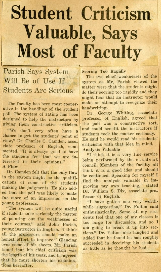 New Student poll spring 1948074