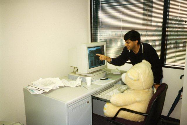 Teddy bear at computer nd 048