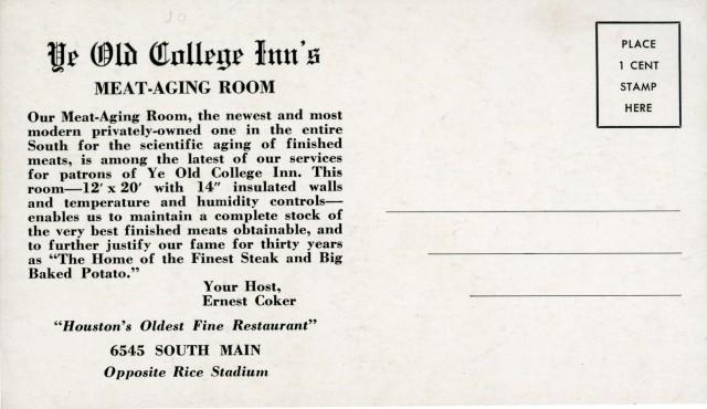 Ye Old College Inn meat verso