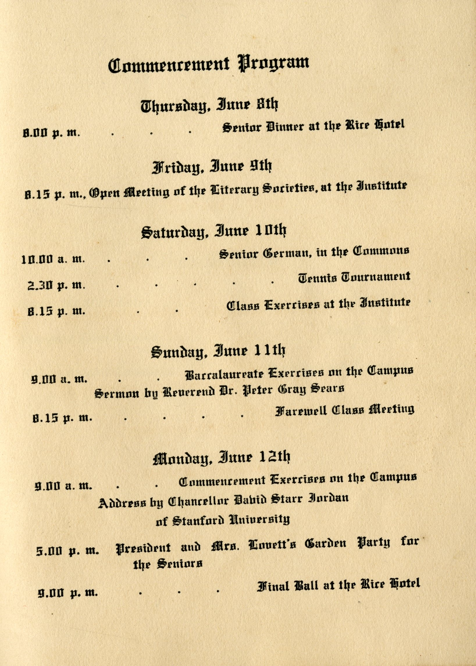 schedule of events for commencement 1916 rice history corner