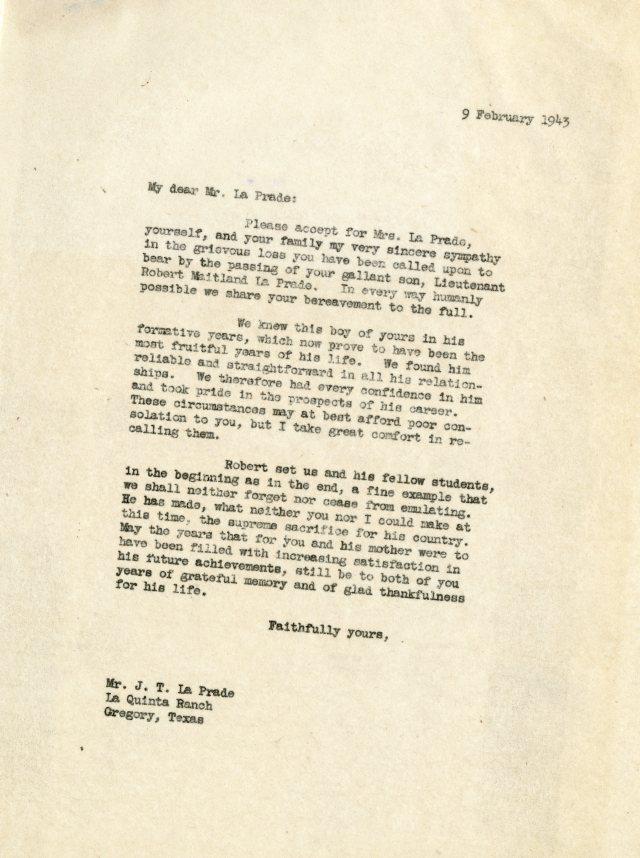 LaPrade letter 2046