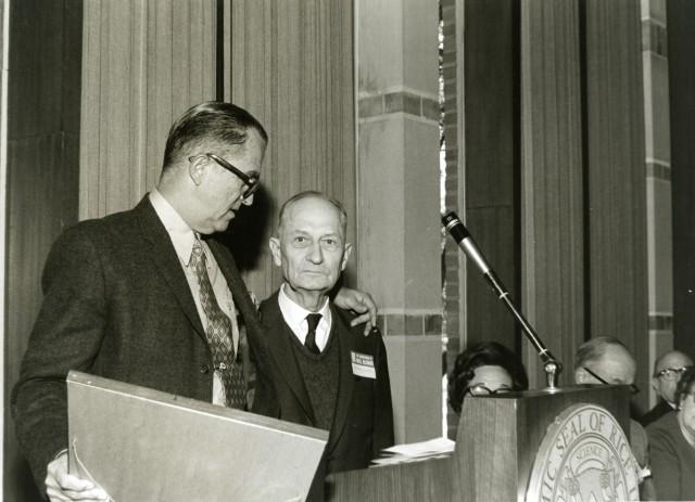 New Verne Simons receiving award Homecoming 1969