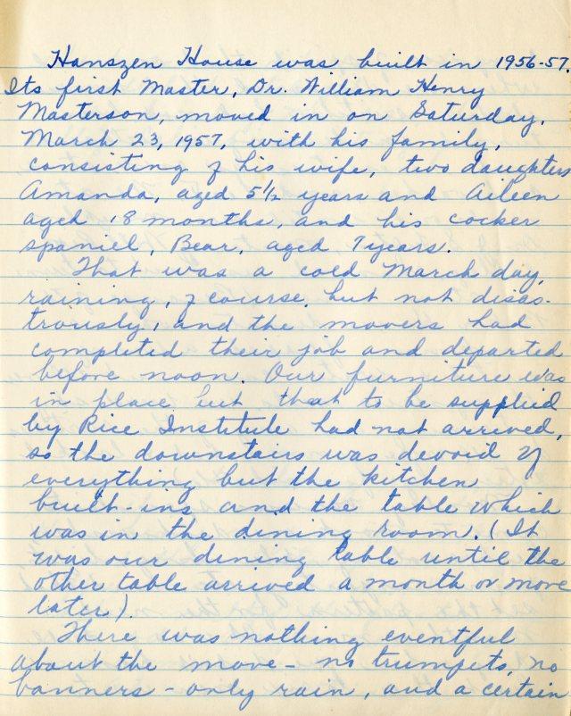 Masterson Hanszen move in March 1957 1 045